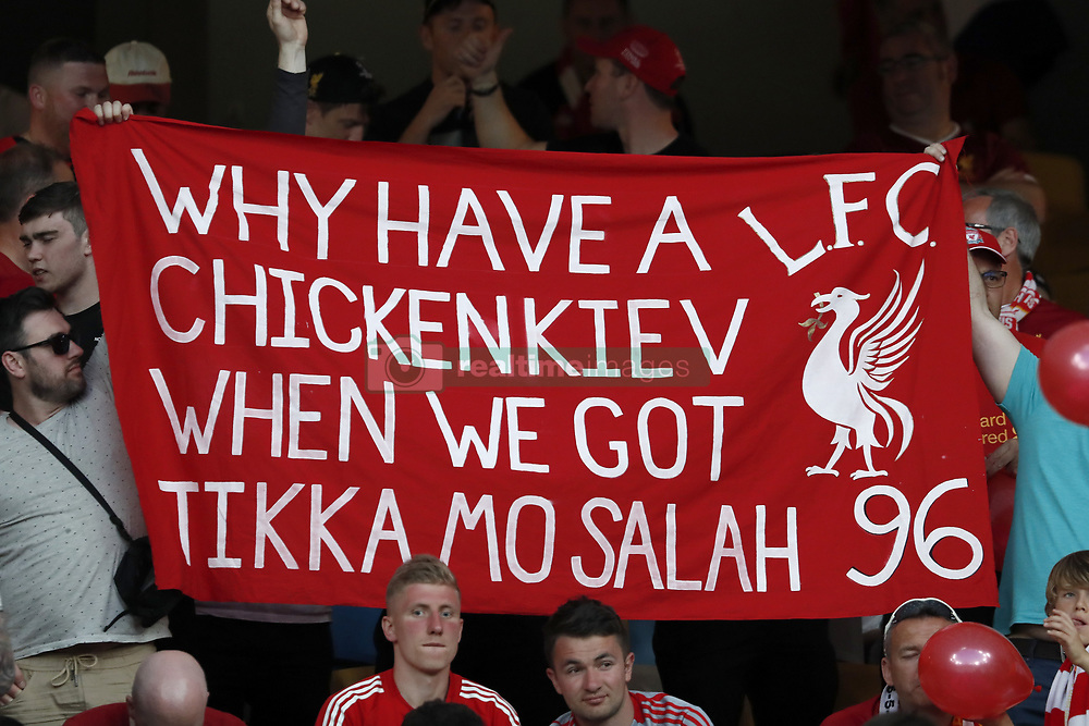 banner of Liverpool FC fans, why have a chicken Kiev when we got tikka Mo Salah during the UEFA Champions League final between Real Madrid and Liverpool on May 26, 2018 at NSC Olimpiyskiy Stadium in Kyiv, Ukraine