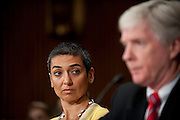"Jul 27, 2010 - Washington, District of Columbia, U.S., -.ZAINAB SALBI, founder and CEO of Women for Women International, listens as RYAN CROCKER, dean and executive professor at Texas A&M University's George Bush School of Government and Public Service, testifies before the Senate Foreign Relations Committee hearing on the ""Perspectives on Reconciliation Options in Afghanistan."" (Credit Image: © Pete Marovich/ZUMA Press)"