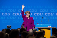 26 FEB 2018, BERLIN/GERMANY:<br /> Angela Merkel, CDU, Bundeskanzlerin, nimmt nach ihrer Rede den Applaus der Delegierten entgegen, CDU Bundesparteitag, Station Berlin<br /> IMAGE: 20180226-01-089<br /> KEYWORDS: Party Congress, Parteitag