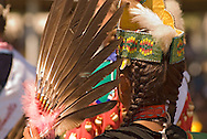 Traditional dancer, Crow Fair, powwow, eagle fan, Crow Indian Reservation, Montana