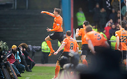 Dundee United&rsquo;s Blair Spittal cele scoring their goal. <br /> Half time : Dundee 1 v 1  Dundee United, SPFL Ladbrokes Premiership game played 2/1/2016 at Dens Park.