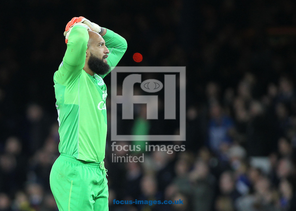 Tim Howard of Everton shows his disappointment after his teams 0-0 draw against Swansea City in the Barclays Premier League match at Goodison Park, Liverpool.<br /> Picture by Michael Sedgwick/Focus Images Ltd +44 7900 363072<br /> 01/11/2014