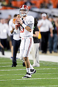 January 7, 2013: Alabama quarterback AJ McCarron (10)  before the start of the Discover BCS National Championship game between the Alabama Crimson Tide and the Notre Dame Fighting Irish at Sun Life Stadium in Miami Gardens, Fl