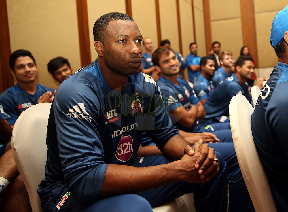 Kieron Pollard of the Mumbai Indians  During Mumbai Indians Eduction For All Function.<br /> Photo by Sandeep Shetty / IPL / SPORTZPICS