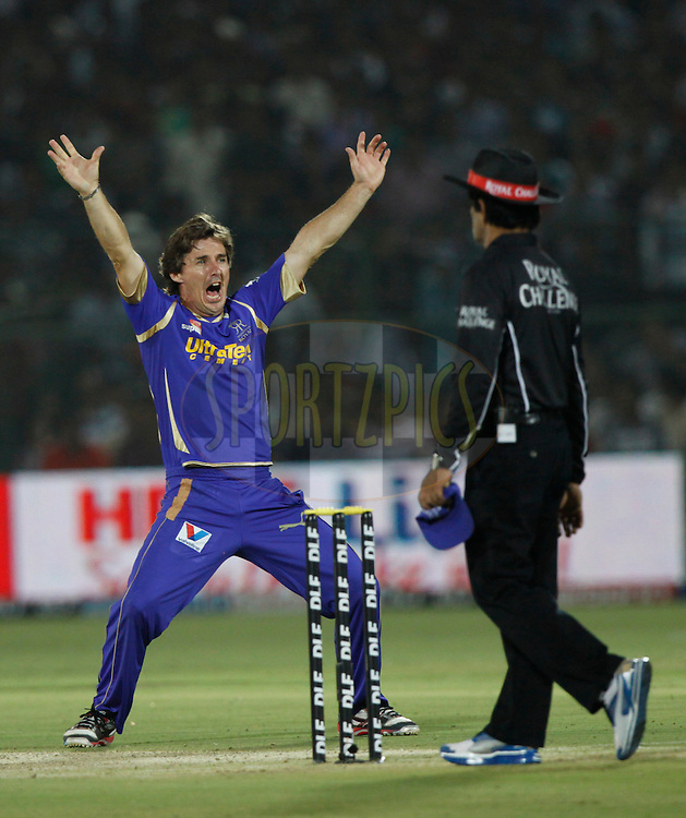 Rajasthan Royals player Brad Hogg appeals unsuccessfully during match 30 of the the Indian Premier League ( IPL) 2012  between The Rajasthan Royals and the Royal Challengers Bangalore held at the Sawai Mansingh Stadium in Jaipur on the 23rd April 2012..Photo by Pankaj Nangia/IPL/SPORTZPICS
