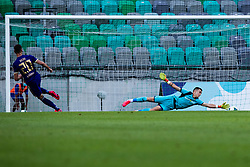 Igor Vekic of NK Bravo dives after ball during football match between NK Bravo and NK Maribor in 34. Round of Prva liga Telekom Slovenije 2019/20, on July 15. 2020 in Stadium Stozice, Ljubljana, Slovenia. Photo by Grega Valancic / Sportida.