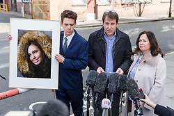 © Licensed to London News Pictures. 28/09/2018. London, UK.  Nadim Ednan-Laperouse (C) speaks to the press, with his son Alex (L) and wife Tanya (R) leave West London Coroner's Court with a photograph of Natasha Ednan-Laperouse following the inquest into the death of Natasha Ednan-Laperouse. Natasha Ednan-Laperouse, aged 15, died on a British Airways flight to from London to Niece, when she fell ill after eating a Pret a Manger sandwich believed to contain sesame.  Photo credit: Vickie Flores/LNP