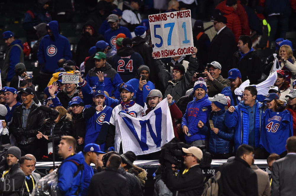 Oct 26, 2016; Cleveland, OH, USA; Chicago Cubs fans cheer after game two of the 2016 World Series against the Cleveland Indians at Progressive Field. Mandatory Credit: Ken Blaze-USA TODAY Sports