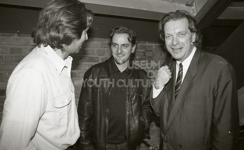 Happy Mondays' Paul Ryder and Tony Wilson, Factory Records Party, Manchester, 1989