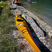 Roo Riley and Leslie Palotas teach sea kayaking skills in the Marlborough Sounds, South Island, New Zealand. They are instructors for the National Outdoor Leadership School. Photo by Jen Klewitz