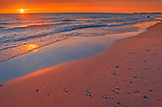 Sandy beach on Lake Huron at sunset<br />Grand Bend<br />Ontario<br />Canada