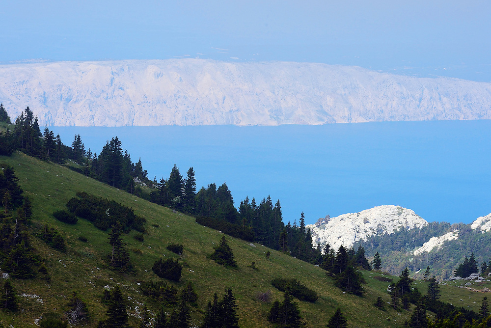 View of the Adriatic Sea, North Velebit National Park,  Velebit Nature Park, Rewilding Europe rewilding area, Velebit  mountains, Croatia