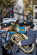 The RAF band leaves Whitehall - Remembrance Sunday and Armistice Day commemorations fall on the same day, remembering the fallen of all conflicts but particularly the centenary of the end of World War One.