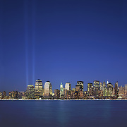 Tribute in Light, New York City.  A temporary art installation of 88 searchlights at the site of World Trade Center in remembrance of the victims of the terrorist attacks of September 11th, 2001.