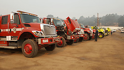 July 29, 2018 - California, U.S. - Fire Trucks and water hose vehicles parked. The Ferguson Fire now in its 20th day, started July 13 on the Sierra National Forest. The fire is now 62,883 acres with 39 percent containment and 3,558 personnel that are currently engaged on the fire which include 203 engines, 43 water tenders, 14 helicopters, 95 crews, 5 masticators and 62 dozers. There has been 2 fatalities and 9 injuries to date. 1 structure has been destroyed. (Credit Image: © Rubicon/Cal Fire via ZUMA Wire/ZUMAPRESS.com) (Credit Image: © Rubicon/Cal Fire via ZUMA Wire/ZUMAPRESS.com)