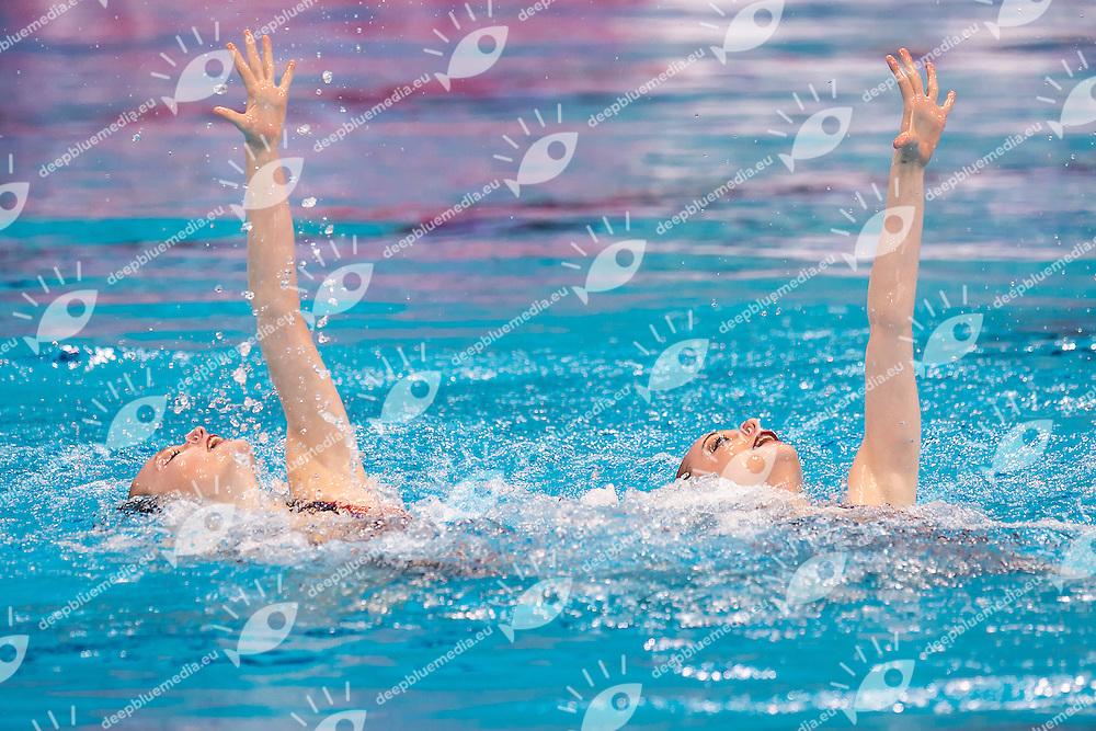 CRITCHLEY Emma  RANDALL Hannah  GBR<br /> London, Queen Elizabeth II Olympic Park Pool <br /> LEN 2016 European Aquatics Elite Championships <br /> Synchronised Swimming Synchro Duet Tech<br /> Day 06 13-05-2016<br /> Photo Giorgio Scala/Deepbluemedia/Insidefoto