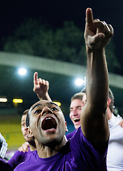 Marcos Tavares #9 of Maribor and other players of Maribor celebrate after winning during football match between NK Maribor and ND Triglav in 34th Round of Prva liga Telekom Slovenije 2013/14, on May 13, 2014 in Stadium Ljudski vrt, Maribor, Slovenia. NK Maribor became Slovenian National Champion 2014. Photo by Vid Ponikvar / Sportida