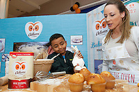 Armed with their brand new no mess flour tubs, The Odlums Roadshow came to Galway Shopping Centre on Saturday. Shoppers queued up to watch icing demo's, win Odlums goodies and taste the delicious Odlums cakes. The Great Irish Bakeoff sponsored by Odlums had contributed to a renewed interest in baking nationwide' . At the event was Ronan Bambara and Doireann Gately Odlums.<br />  Photo:Andrew Downes.