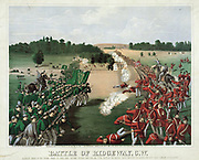 Battle of Ridgeway, Ontario (Canada West) 2 June 1866. Rout of Canadian troops by an irregular Irish-American army, the Fenians, left. An attempt put pressure on Britain to negotiate the formation of an Irish Republic.  Coloured lithograph c1868.
