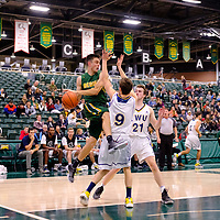 4th year guard, Samuel Hillis (2) of the Regina Cougars in action during the Regina Cougars vs Lethbridge on November 3 at University of Regina. Credit Matte Black Photos/©Arthur Images 2018