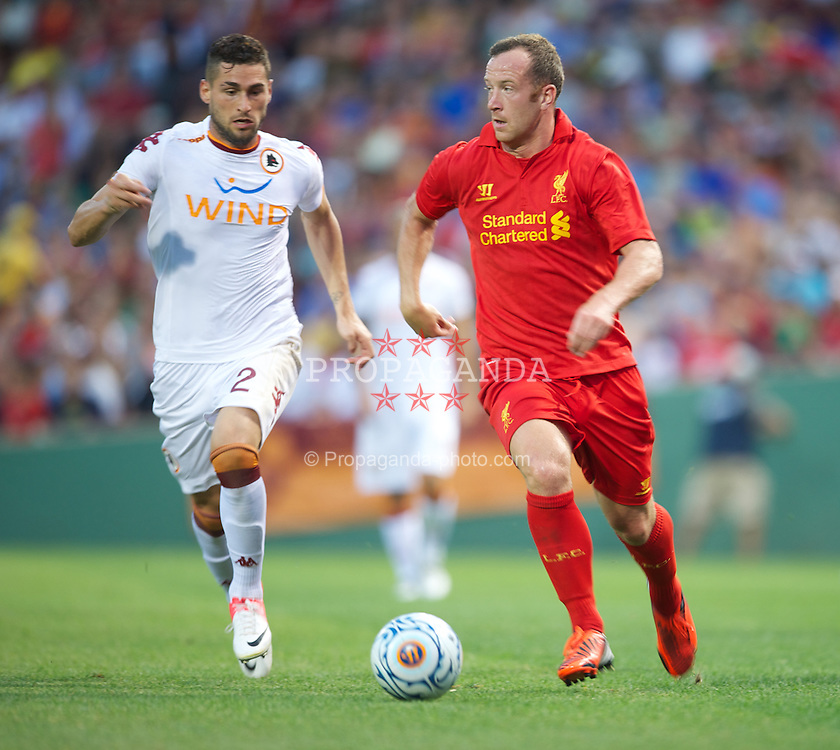 BOSTON, MA - Wednesday, July 25, 2012: Liverpool's Charlie Adam in action against AS Roma during a pre-season friendly match at Fenway Park, home of the Boston Red Sox, the second match of the Reds' North American tour. (Pic by David Rawcliffe/Propaganda)