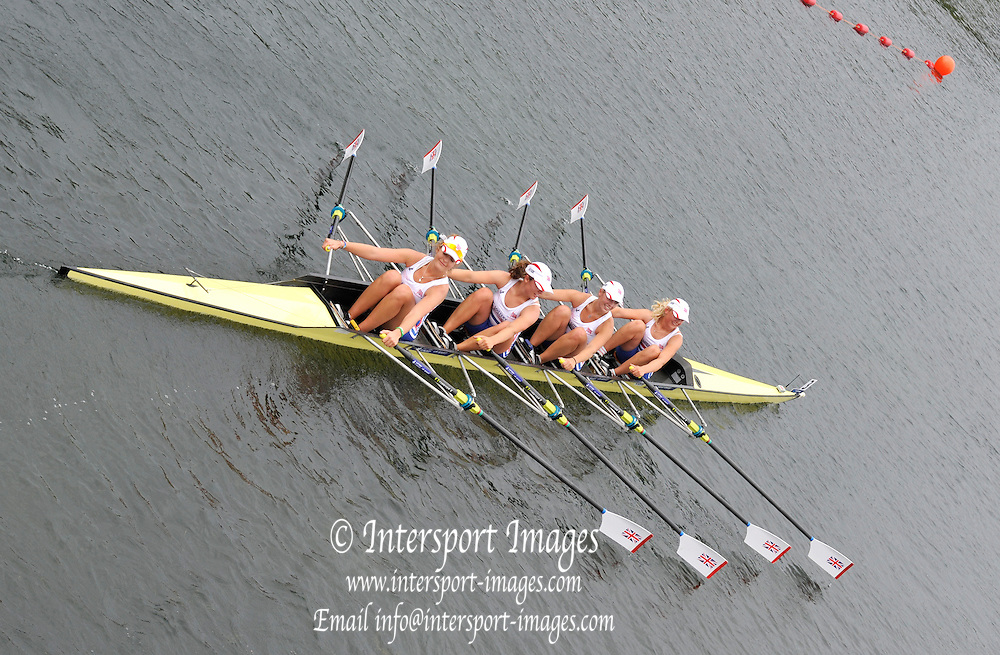 Eton. Great Britain. B Final JW4X.  Bow, Jessica LEYDEN, Klara WEAVER, Katie BARTLETT and Lucy BURGESS.  Eton Rowing Centre 2011 FISA Junior  World Rowing Championships. Dorney Lake, Nr Windsor. Saturday  06/08/2011   [Mandatory credit: Peter Spurrier Intersport Images]