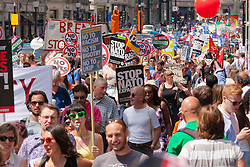 London, June 21st 2014. Tens of thousands march througgh London during the People's Assembly Against Austerity's march.