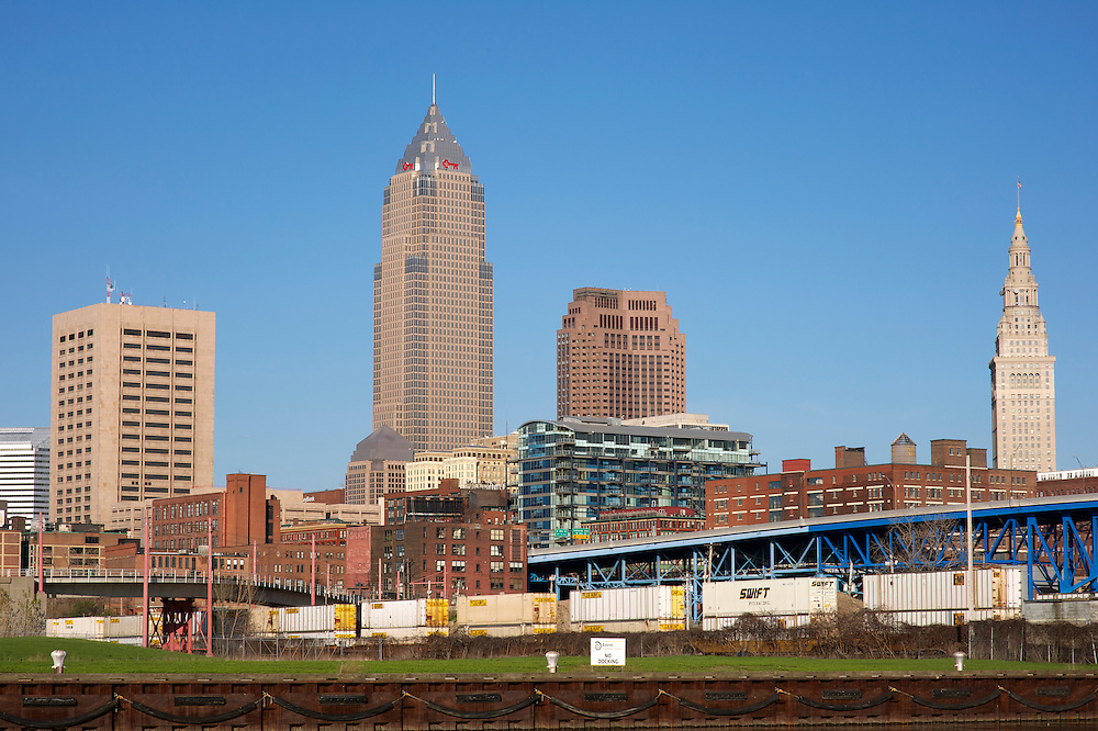 Cleveland Skyline over the Cuyahoga River looking East.