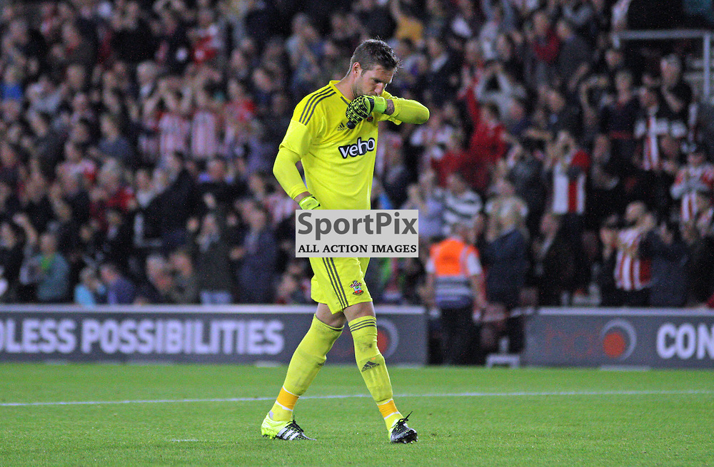 Maarten Stekelenburg kisses his wrists in celebration During Southampton FC vs Fc Midtjylland on Thursday the 20th August 2015.