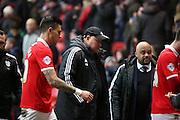 Cardiff City Manager, Russell Slade leaving the pitch during the Sky Bet Championship match between Charlton Athletic and Cardiff City at The Valley, London, England on 13 February 2016. Photo by Matthew Redman.