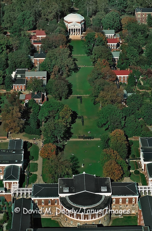 Aerial View of Charlottesville, Virginia the University of Virginia campus (UVA) originally designed and founded by Thomas Jefferson