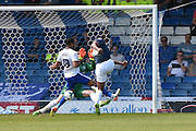 Southend United Forward, Tyrone Barnett shoots but is stopped by Bury On loan Goalkeeper, Chris Neal  during the Sky Bet League 1 match between Bury and Southend United at the JD Stadium, Bury, England on 8 May 2016. Photo by Mark Pollitt.