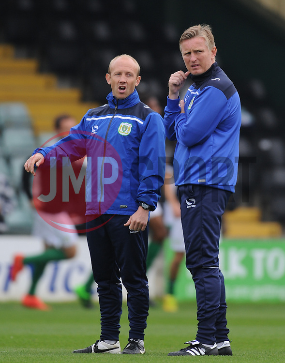 Yeovil coaches Darren Way and Terry Skiverton look on prior to the start of the game.  - Mandatory byline: Alex Davidson/JMP - 07966 386802 - 10/10/2015 - FOOTBALL - Huish Park - Yeovil, England - Yeovil v Dagenham - Sky Bet League Two