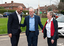 © Licensed to London News Pictures. 24/03/2017. Bristol, UK. L-r: MARVIN REES elected mayor of Bristol, JEREMY CORBYN, Labour leader, LESLEY MANSELL at the Greenway Centre in Southmead to support of Lesley Mansell as Labour candidate in the forthcoming West of England Combined Authority mayoral election on 04 May. Photo credit : Simon Chapman/LNP