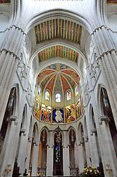 THEMENBILD - Madrid ist seit Jahrhunderten der geographische, politische und kulturelle Mittelpunkt Spaniens (siehe Kastilien) und der Sitz der spanischen Regierung. Hier residieren auch der König, ein katholischer Erzbischof sowie wichtige Verwaltungs- und Militärbehörden. Als Handels- und Finanzzentrum hat die Stadt nationale und internationale Bedeutung. Hier im Bild Kruzific, bemalte Innendecke der Kuppel, Innenansicht, Catedral de Nuestra Senora de la Almudena, Santa Maria la Real de La Almudena, Almudena-Kathedrale // THEMATIC PACKAGES - Madrid is the capital and largest city of Spain. The population of the city is roughly 3.3 million and the entire population of the Madrid metropolitan area is calculated to be around 6.5 million. It is the third-largest city in the European Union, after London and Berlin, and its metropolitan area is the third-largest in the European Union after London and Paris. The city spans a total of 604.3 km2. EXPA Pictures © 2014, PhotoCredit: EXPA/ Eibner-Pressefoto/ Weber<br /> <br /> *****ATTENTION - OUT of GER*****