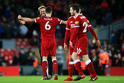 Liverpool manager Jurgen Klopp celebrates with Dejan Lovren at full time - Mandatory by-line: Matt McNulty/JMP - 30/12/2017 - FOOTBALL - Anfield - Liverpool, England - Liverpool v Leicester City - Premier League