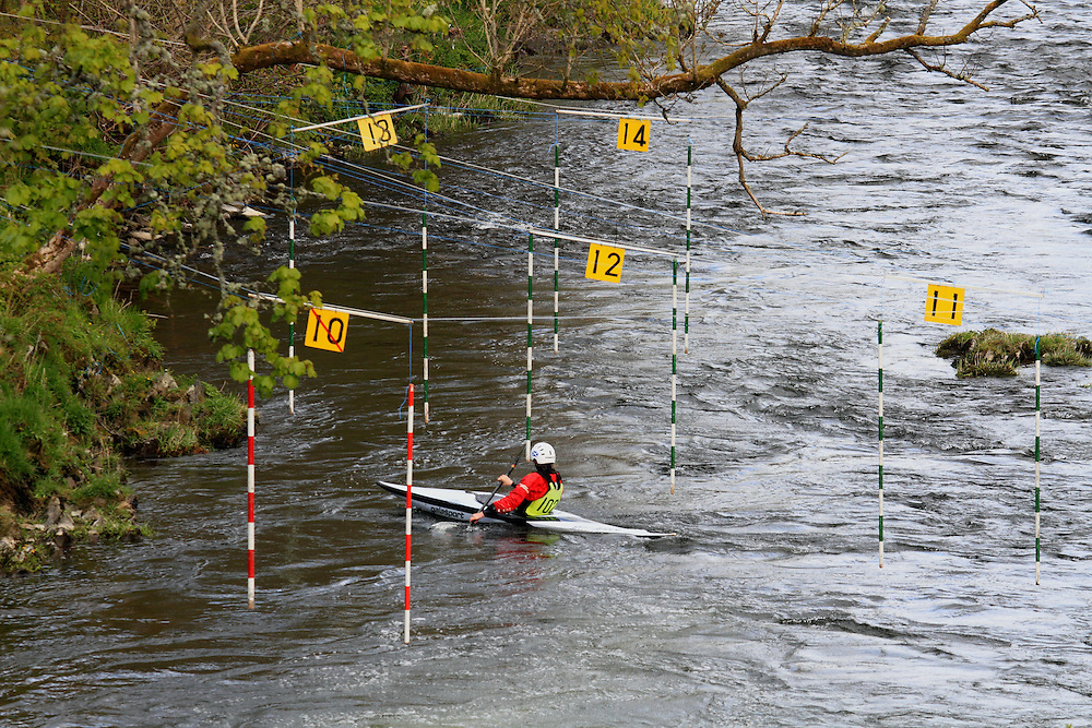 A canoe slalom competition run by Selkirk Canoe Club on the River Tweed at Yair Bridge in the Scottish Borders