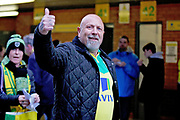 Norwich fan giving the thumbs up outside the stadium before the EFL Sky Bet Championship match between Norwich City and Blackburn Rovers at Carrow Road, Norwich, England on 27 April 2019.