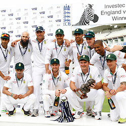 20/08/2012 London, England. South Africa with the trophies after winning the third Investec cricket international test match between England and South Africa, played at the Lords Cricket Ground: Mandatory credit: Mitchell Gunn