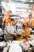 Street food and stalls near Tha Chang Pier and Thammasat University, Bangkok