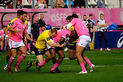 April 7, 2018 - Paris, France - Stade Francais Lock DAN TUOHY in action during the French rugby championship Top 14 match between Stade Francais and Clermont at Jean Bouin Stadium in Paris - France..Stade Francais won 50-13 (Credit Image: © Pierre Stevenin via ZUMA Wire)