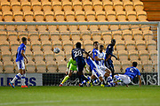 Southend United forward Shawn McCoulsky shoots at goal during the EFL Trophy match between Colchester United and Southend United at the Weston Homes Community Stadium, Colchester, England on 9 October 2018.