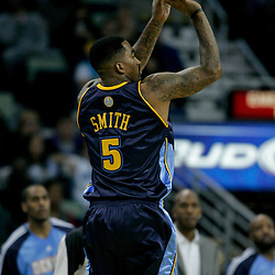 Dec 18, 2009; New Orleans, LA, USA;  Denver Nuggets guard J.R. Smith (5) shoots against the New Orleans Hornets during the first half at the New Orleans Arena. Mandatory Credit: Derick E. Hingle-US PRESSWIRE