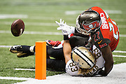 NEW ORLEANS, LA - SEPTEMBER 20:  Johnthan Banks #27 of the Tampa Bay Buccaneers breaks up a pass at the goal line thrown to Willie Snead #83 of the New Orleans Saints at Mercedes-Benz Superdome on September 20, 2015 in New Orleans Louisiana.  The Buccaneers defeated the Saints 26-19. (Photo by Wesley Hitt/Getty Images) *** Local Caption *** Johnthan Banks; Willie Snead