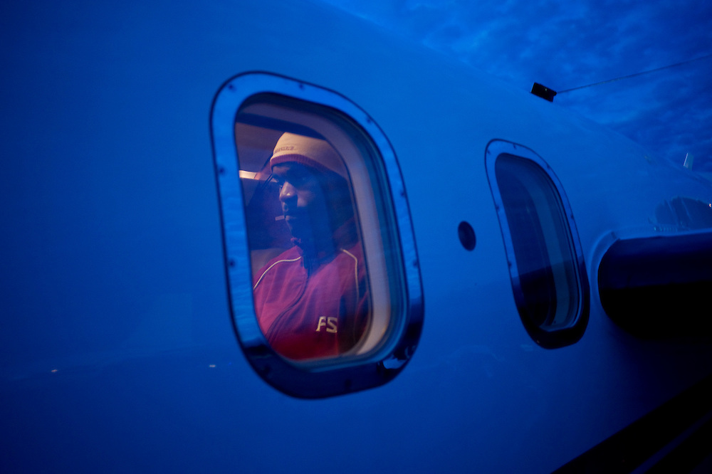 Birmingham, AL - November 22, 2008 - Florida State University football player Myron Rolle is photographed in the private plane that will take him to an away game against University of Maryland.  .Photo by Susana Raab,