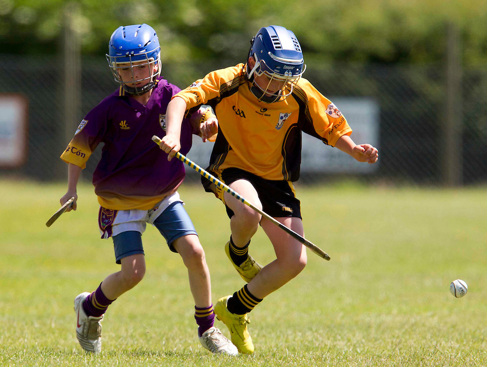 Cumann na mBunScoil Primary School Finals at Dunsany_19/6/2010  .Division 2 Hurling Final. Baconstown N.S. vs Oristown N.S..Ronan Byrne (Baconstown N.S.) & William McAleese (Oristown N.S.).Photo: David Mullen /www.cyberimages.net