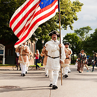 Drum and Fife Corp marching through the streets at Greenfield Village for their annual Salute to America.  Photographed by event photographer KMS Photography