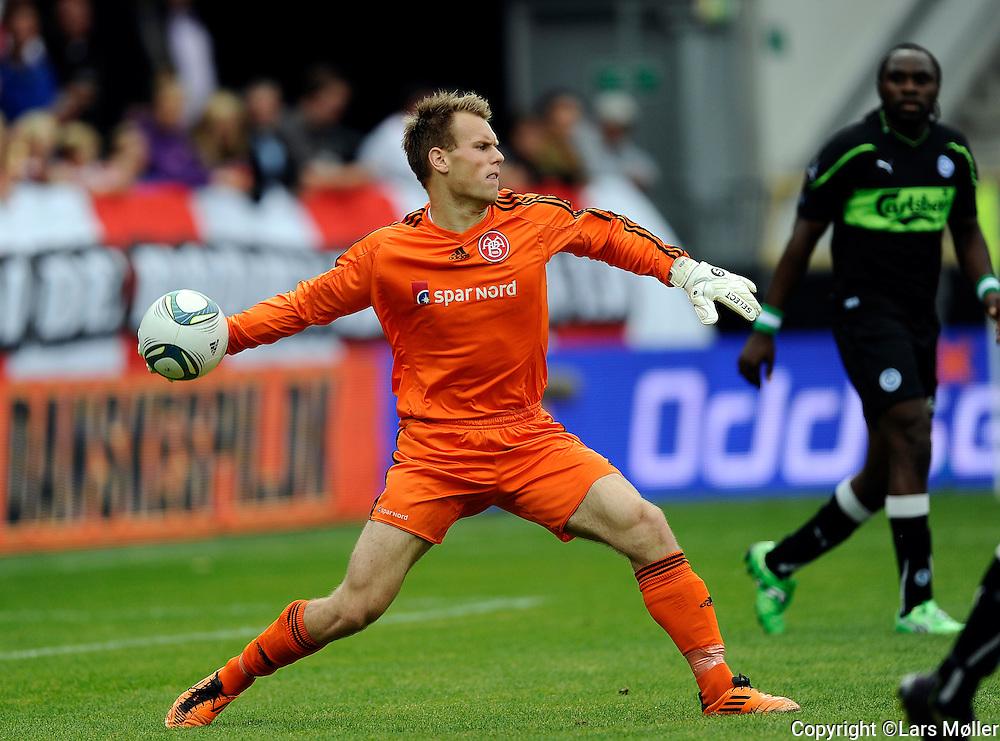 DK Caption:<br /> 20110813, &Aring;lborg, Danmark:<br /> Superliga fodbold, AAB - OB:<br /> Keeper Nicolai Larsen, Aab Aalborg.<br /> Foto: Lars M&oslash;ller<br /> <br /> UK Caption:<br /> 20110813, Aalborg, Denmark:<br /> Superleague football  AAB - OB:<br /> Keeper Nicolai Larsen, Aab Aalborg.<br /> Photo: Lars Moeller