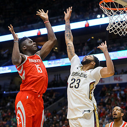 Mar 17, 2018; New Orleans, LA, USA; Houston Rockets center Clint Capela (15) shoots over New Orleans Pelicans forward Anthony Davis (23) during the first quarter at the Smoothie King Center. Mandatory Credit: Derick E. Hingle-USA TODAY Sports