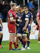 Adam Thomson and Nasi Manu after match. Investec Super Rugby - Highlanders v Reds 27 February 2015, Forsyth Barr Stadium, Dunedin, New Zealand. Photo: New Zealand. Photo: Richard Hood/www.photosport.co.nz
